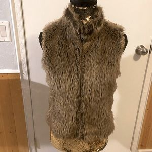 Justice Brown Faux Fur Vest New without tags